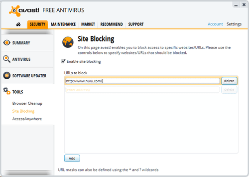 Site blocking